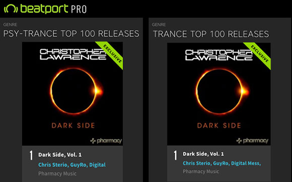 Dark Side mix compilation hits #1 on Trance and Psy-Trance charts!